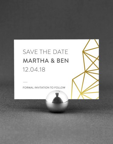 Geometric Save the Date Foil Pressed in Gold on White Card