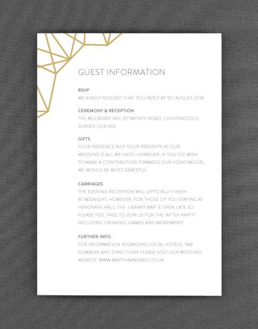 Geometric Wedding Information Card on White Card
