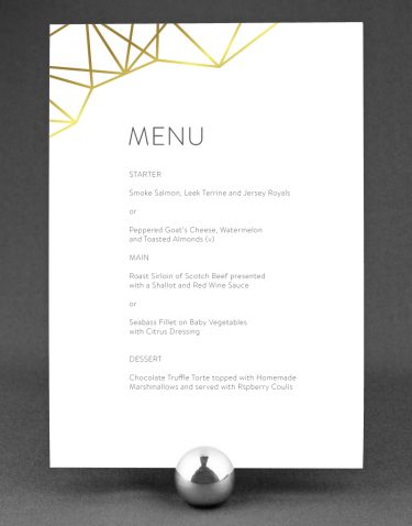 Geometric Wedding Menu Foil Pressed in Gold on White Card