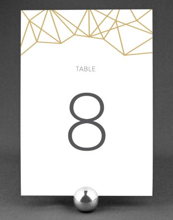 Geometric Wedding Table Number with Buff Accent Ink on White Card