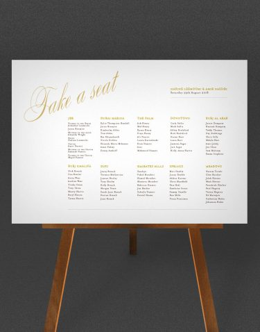 Pemberley Wedding Table Plan