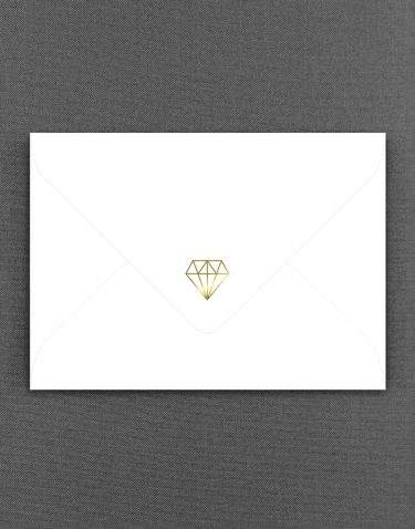 White Geometric Wedding Envelope Foil Printed in Gold