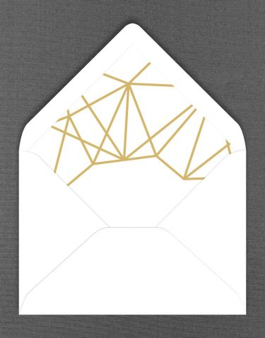 White Geometric Wedding Envelope Liner