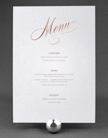 Script Wedding Menu Foil Pressed in Rose Gold on White Card
