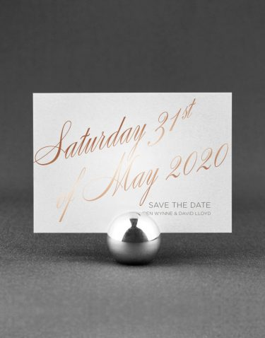 Script Save the Date Foil Printed in Rose Gold on White Pearl Card