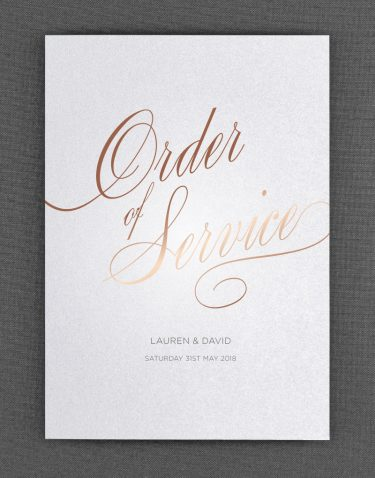Script Order of Service Foil Pressed in Rose Gold on White Pearl Card