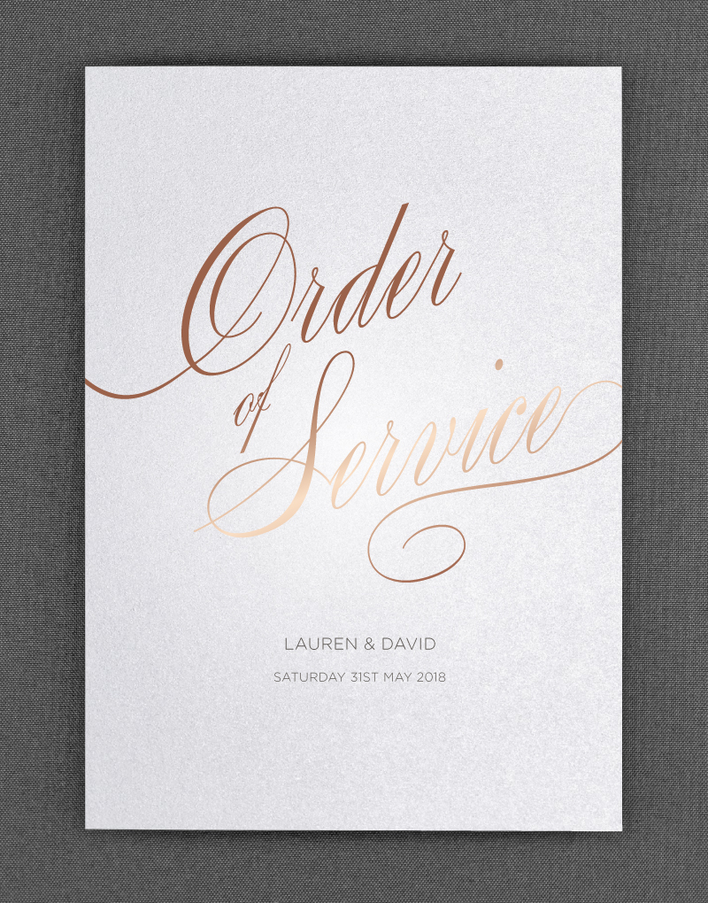 Script Order of Service - The Foil Invite Company