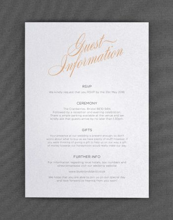 Script Wedding Information Cards on White Pearl Card