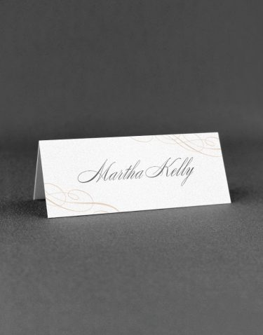 Script Wedding Place Card with Nice Detailin Rose Ink