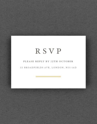 Sunburst RSVP Card with Buff Accent Ink on White Pearl Card