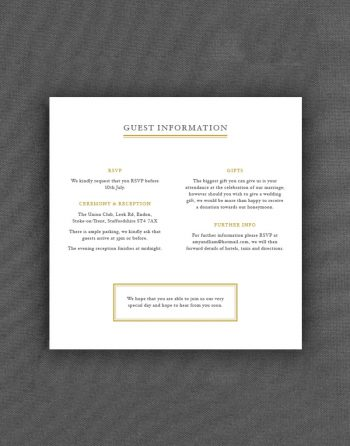 Sunburst Wedding Information Card with Buff Accent Ink and Charcoal Colour Text