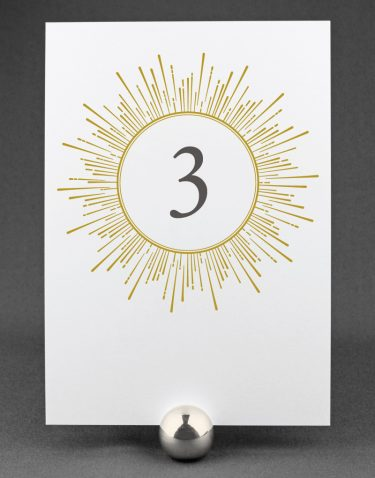 Sunburst Wedding Table Number on White Card