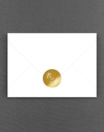 Elegance Initial Gold Foil Wedding Sticker