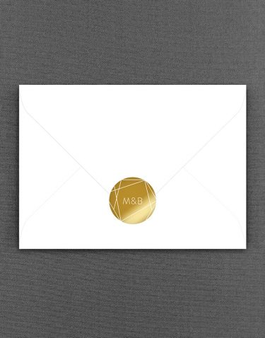 Geometric Initial Gold Foil Wedding Sticker