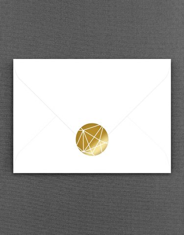 Geometric Lines Gold Foil Wedding Stickers