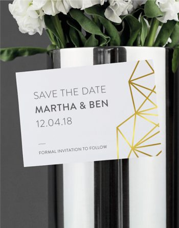 Geometric Save the Date Foil Pressed in Gold on White Magnetic Card