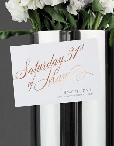 Script Save the Date Foil Printed in Rose Gold on White Magnetic Card
