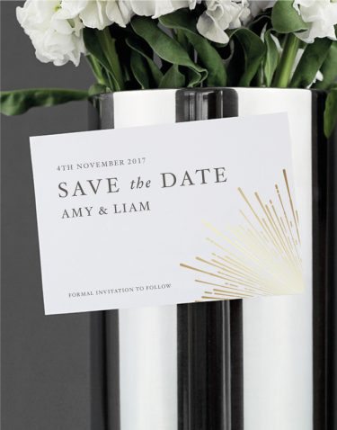 Sunburst Save the Date Foil Pressed in Gold on White Magnetic Card