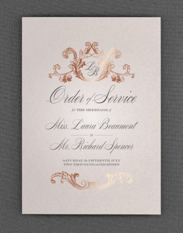 Script Order of Service Foil Stamped in Rose Gold on Oyster Pearl Card