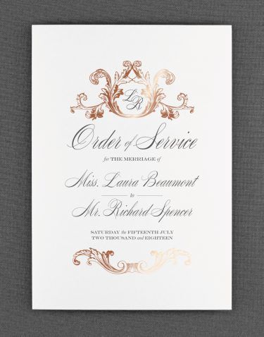 Beaumont Order of Service Foil Stamped in Rose Gold on White Card