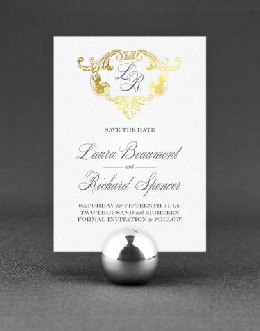 Beaumont Save the Date Foil Stamped in Gold on White Pearl Card