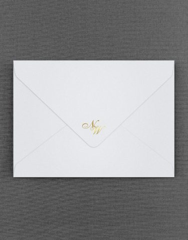 Sparkle White Pearl Envelopes with Foil Pressed Monograms in Gold