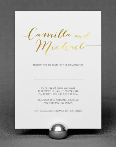 "Louise Wedding ""Names"" Invitation with Foil Printed in Gold on White Card"