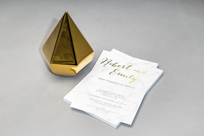 Louise Wedding Invitation Foil Pressed in Gold on Marble Card