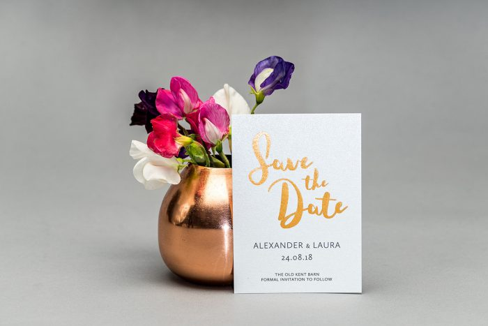 Rockwell Save the Date hot foil in Copper on White Card