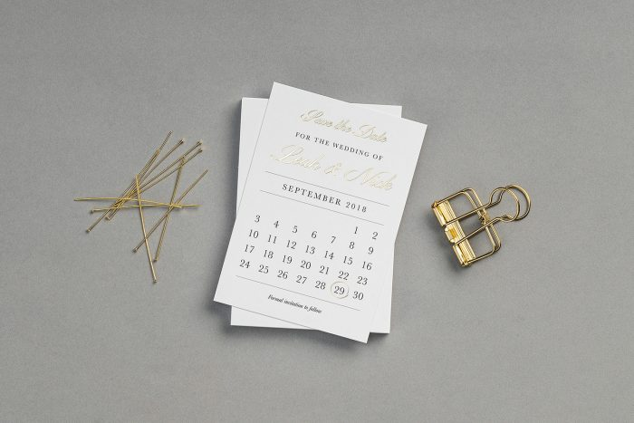 Bespoke Wedding Invitation hot stamped with Gold Foil on White Card