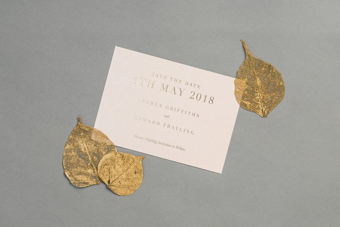 Bespoke Save the Date hot stamped in Gold on Blush Card