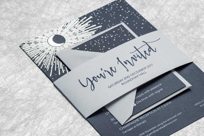 Bespoke Wedding Invitation hot stamped with Silver Foil on Navy Card