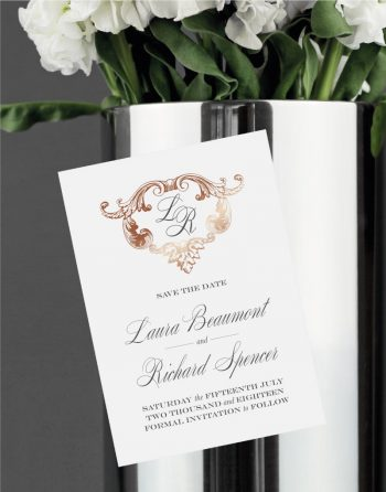Beaumont Save the Date Foiled in Rose Gold on Magnetic Card