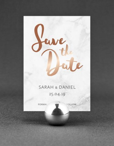Rockwell Save the Date Foil Printed in Rose Gold on Marble Card