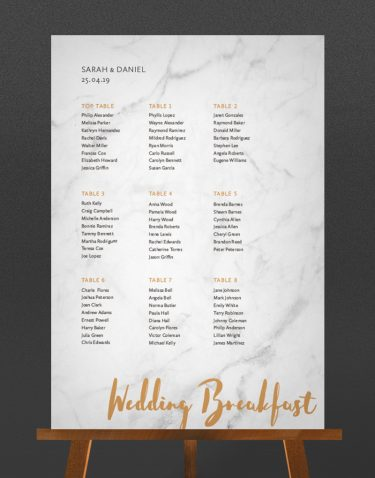 Rockwell Table Plan with a Marble Background