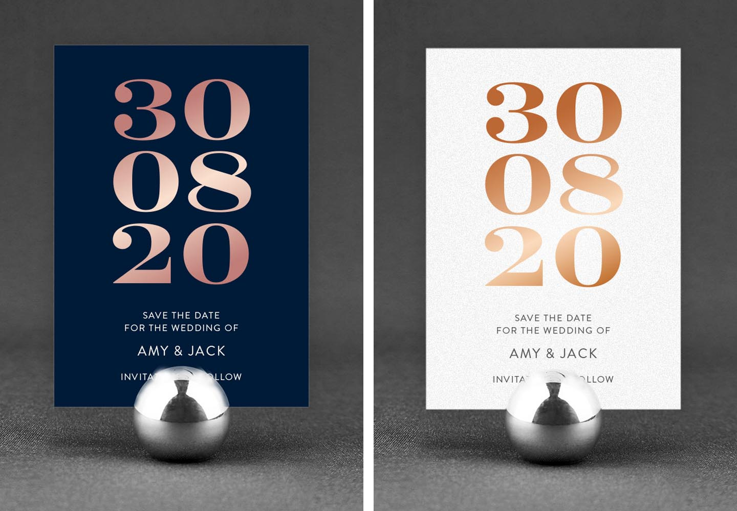 Stylish Ideas for Unique Wedding Save the Dates | Foil ...