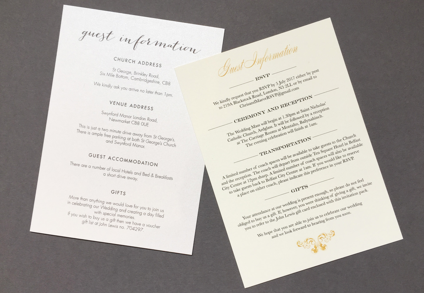Wedding Guest Information Cards - What To Include