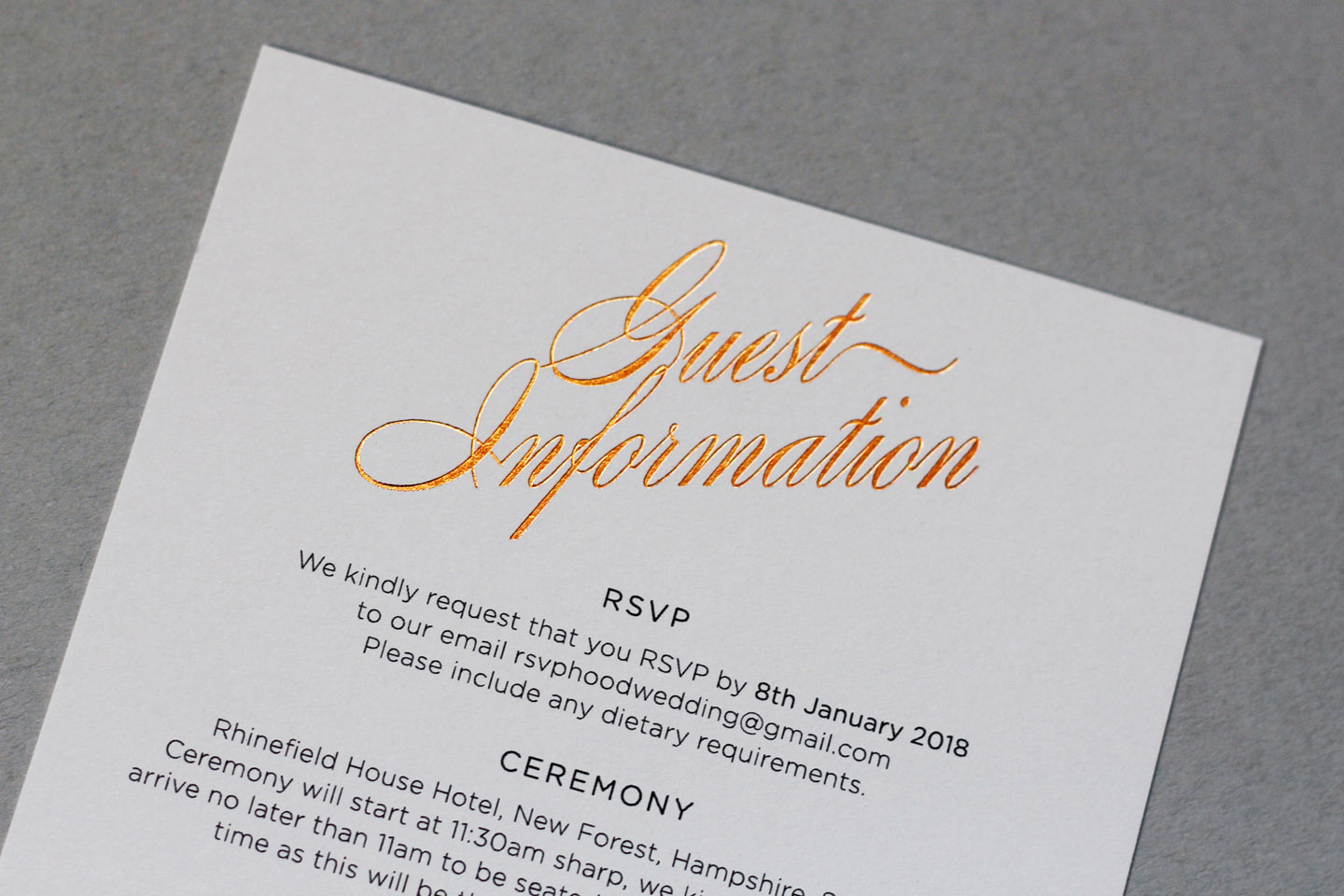 Wedding Guest Information Cards - What to Include | Foil Invite Co Blog