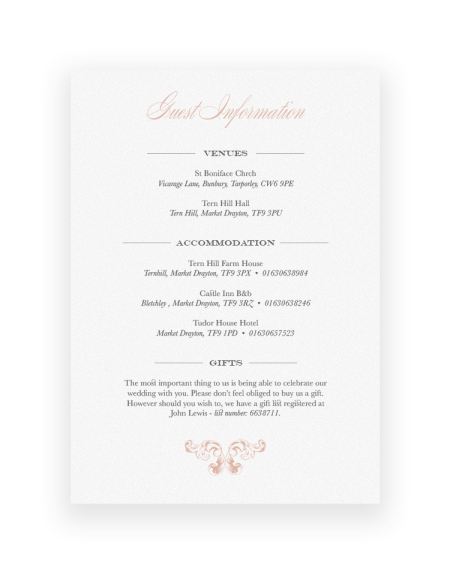 Ornate Beaumont Wedding Information Card - Baroque design with a Vintage Style - Luxury Wedding Stationery by The Foil Invite Company