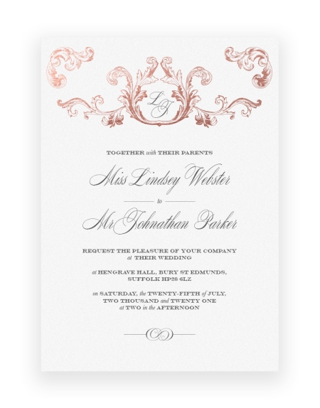 Luxury Wedding Invitations - Beaumont Vintage Style Design - Foil Invite Company Wedding Stationery