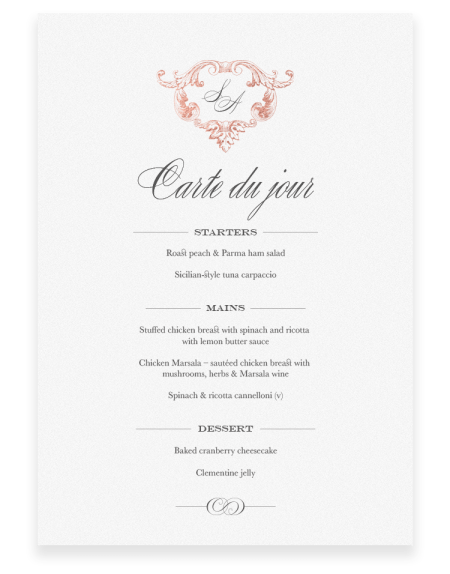 Beaumont Wedding Menu Cards - Luxury Wedding Stationery by The Foil Invite Company