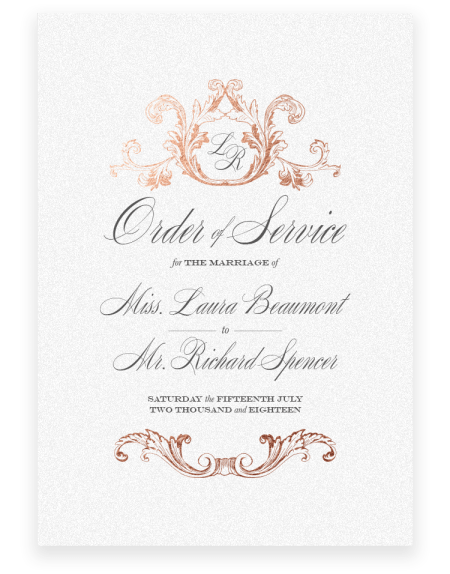 Beaumont Wedding Order of Service - Luxury Wedding Stationery by The Foil Invite Company