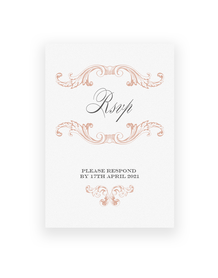 Beaumont Vintage RSVP Cards - Ornate Baroque Design - Luxury Wedding Stationery by The Foil Invite Company