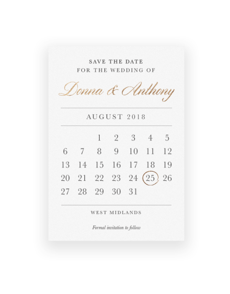 Calendar Save the Dates Magnets and Cards - The Foil Invite Company Luxury Wedding Stationery