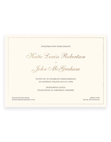 Classic Wedding invitations - Foil Invite Company Luxury Wedding Stationery - Foil Printed by hand in the UK
