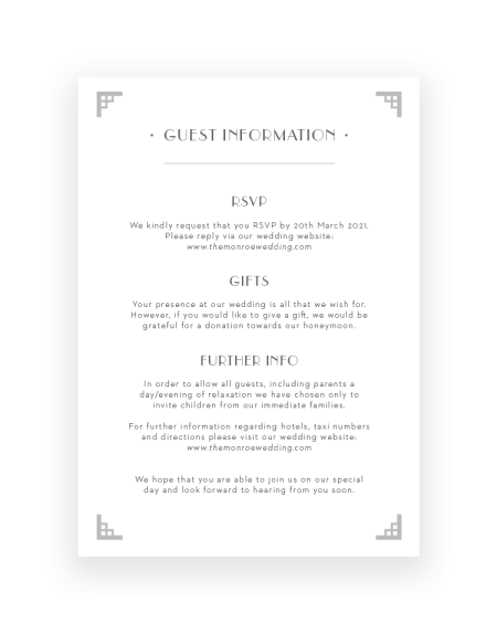 Stylish Art Deco Wedding Information Card - Hand Printed with Foil - Luxury Wedding Stationery by The Foil Invite Company