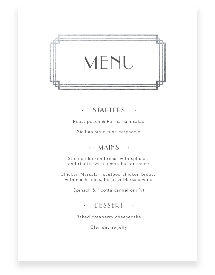 Art Deco Wedding Menu Cards - Luxury Wedding Stationery by The Foil Invite Company
