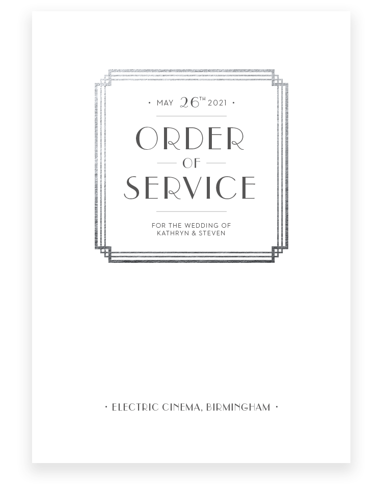 Art Deco Wedding Order of Service - Luxury Wedding Stationery by The Foil Invite Company
