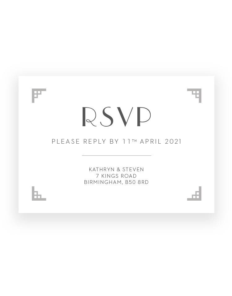 Art Deco RSVP Cards - Foil Printed by hand in UK - Luxury Wedding Stationery by The Foil Invite Company