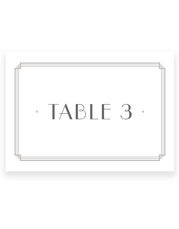 Art Deco Wedding Table Numbers - Luxury Wedding Stationery by The Foil Invite Company